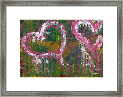 Two Hearts Framed Print by Angela Bruno