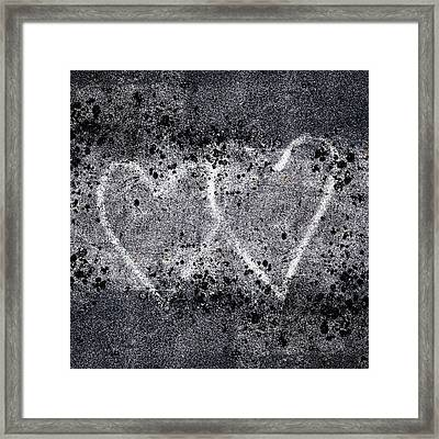 Two Hearts Graffiti Love Framed Print by Carol Leigh