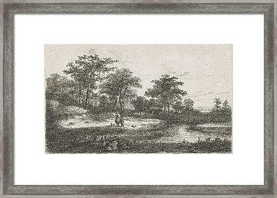 Two Hunters In A Fen, Hermanus Jan Hendrik Van Framed Print