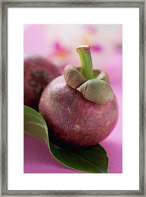 Two Mangosteens With Leaf Framed Print