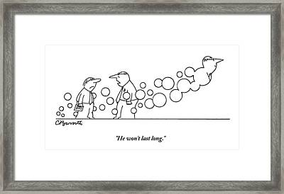 Two Men Are Speaking With Each Other As Bubbles Framed Print