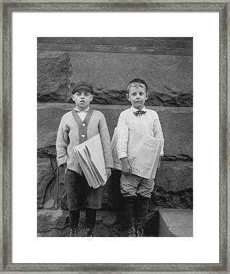 Two Newspaper Boys Framed Print by Aged Pixel