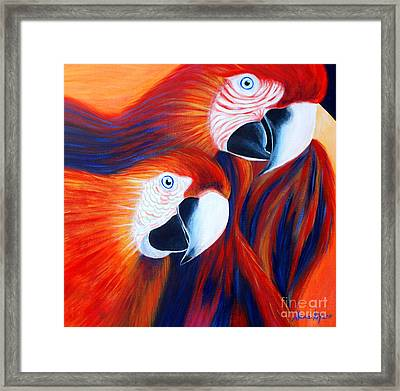 Framed Print featuring the painting Two Parrots. Inspirations Collection. by Oksana Semenchenko