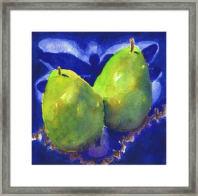 Two Pears On Blue Tile Framed Print by Susan Herbst
