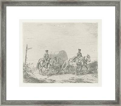 Two Soldiers On Horseback On The Road, Print Maker Framed Print by Christiaan Wilhelmus Moorrees
