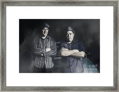 Two Tough And Serious Gangster Men Sitting On Car Framed Print by Jorgo Photography - Wall Art Gallery