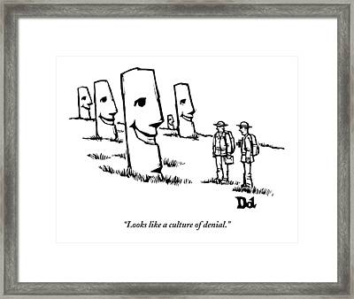 Two Tourists/ Explorers On Easter Island Come Framed Print