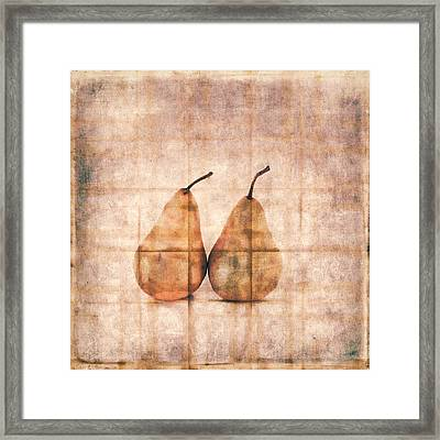 Two Yellow Pears On Folded Linen Framed Print by Carol Leigh