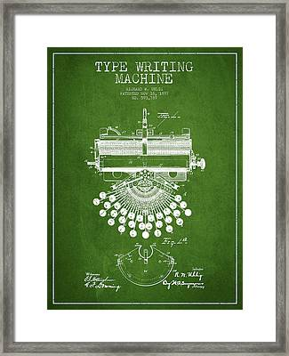 Type Writing Machine Patent Drawing From 1897 - Green Framed Print