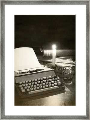 Typewriter By Candlelight Framed Print by Amanda Elwell