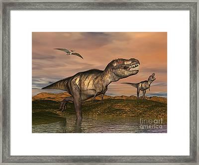Tyrannosaurus Rex Dinosaurs Framed Print by Elena Duvernay