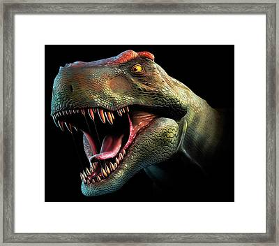 Tyrannosaurus Rex Head Study Framed Print by Mark Garlick