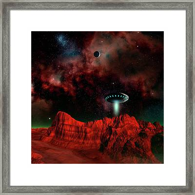 Ufo Over An Alien Planet Framed Print by Mehau Kulyk/science Photo Library