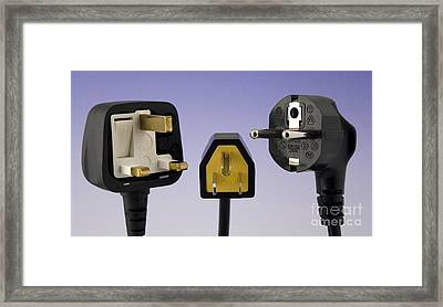 Uk, Us And European Mains Plugs Framed Print by Sheila Terry
