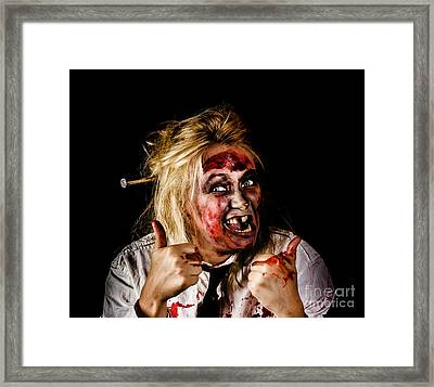 Undead Business Zombie Giving Halloween Thumbs Up Framed Print by Jorgo Photography - Wall Art Gallery