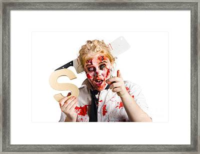 Undead Woman With S Sign Framed Print by Jorgo Photography - Wall Art Gallery