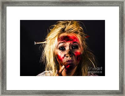 Undead Zombie Looking To Dark Copy Space Framed Print by Jorgo Photography - Wall Art Gallery