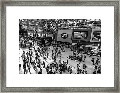 Under The Clock At Waterloo Station Concourse In London From A H Framed Print by Peter Noyce