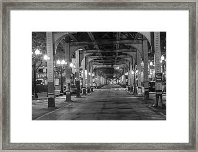 Under The El In Chicago  Framed Print by John McGraw