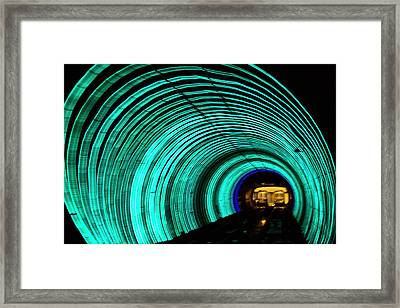 Underground Tunnel Lights Framed Print by Keren Su