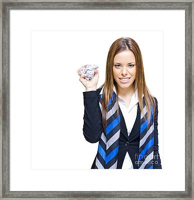 Unhappy And Angry Business Woman With Paper Framed Print