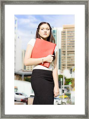 Unhappy Business Woman Crying On City Street Framed Print