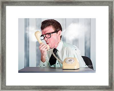 Unhappy Nerd Businessman Yelling Down Retro Phone Framed Print by Jorgo Photography - Wall Art Gallery