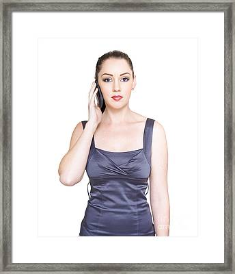 Unhappy Young Business Woman On Telephone Call Framed Print
