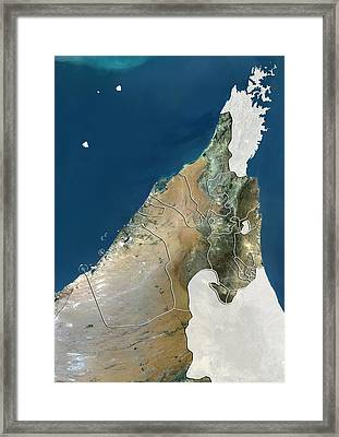 United Arab Emirates, Satellite Image Framed Print by Science Photo Library