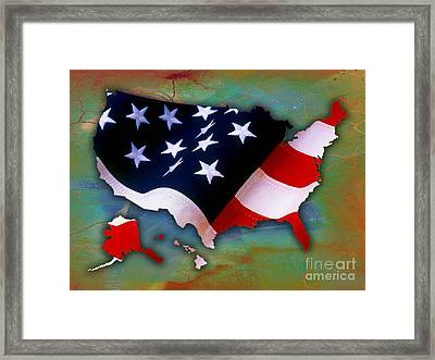 United States Map Framed Print by Marvin Blaine