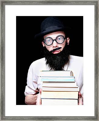 University Lecturer Holding Education Text Books Framed Print by Jorgo Photography - Wall Art Gallery