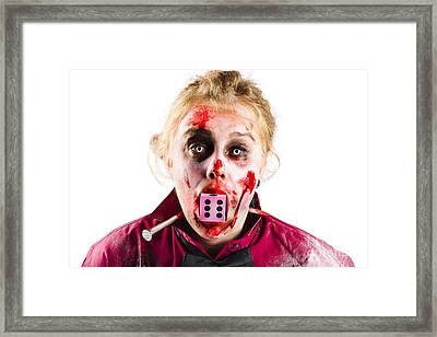 Unlucky Woman With Dice In Mouth Framed Print by Jorgo Photography - Wall Art Gallery
