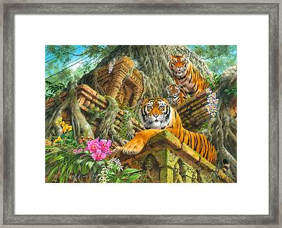Temple Tigers Framed Print by John Francis