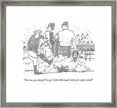 Toss Me, You Chump! I've Got little Mermaid Framed Print by Michael Crawford