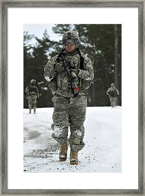 U.s. Army Soldier Conducts A Dismounted Framed Print by Stocktrek Images