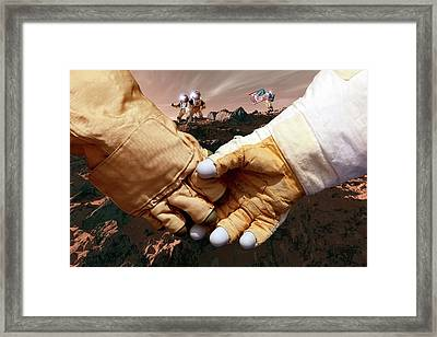 Us Astronauts On Mars Framed Print by Detlev Van Ravenswaay