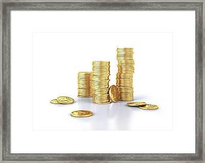 Us Dollar Coins Framed Print by Leonello Calvetti
