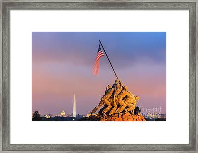 Us Marine Corps War Memorial Framed Print by Henk Meijer Photography