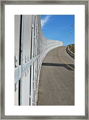 Us-mexico Border Fence Framed Print by Josh Denmark - U.s. Customs And Border Protection/science Photo Library