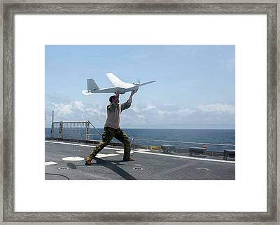 Us Military Surveillance Drone Framed Print by U.s. Navy