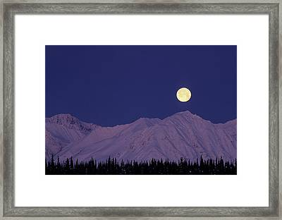 Usa, Alaska, Alaska Range, Full Moon Framed Print