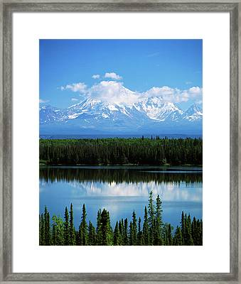 Usa, Alaska, Willow Lake And Mt Framed Print by Adam Jones