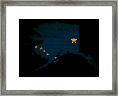 Usa American Alaska State Map Outline With Grunge Effect Flag Framed Print by Matthew Gibson