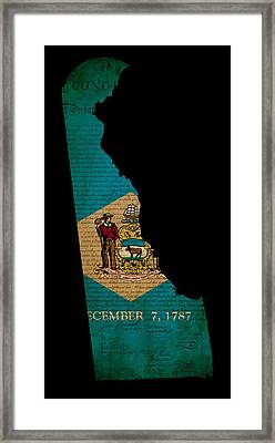 Usa American Delaware State Map Outline With Grunge Effect Flag  Framed Print by Matthew Gibson