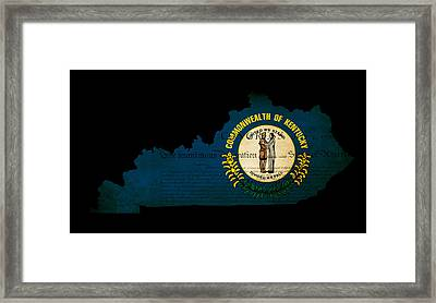 Usa American Kentucky State Map Outline With Grunge Effect Flag  Framed Print by Matthew Gibson