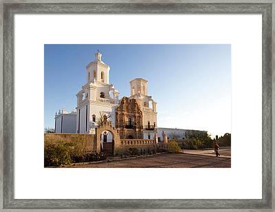 Usa, Arizona Mission San Xavier Del Framed Print