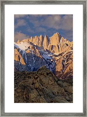 Usa, California Sunrise On Mt Whitney Framed Print