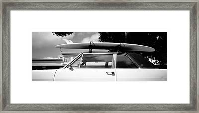 Usa, California, Surf Board On Roof Framed Print