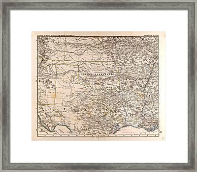 U.s.a. Mapgotha Justus Perthes 1872 Atlas Framed Print
