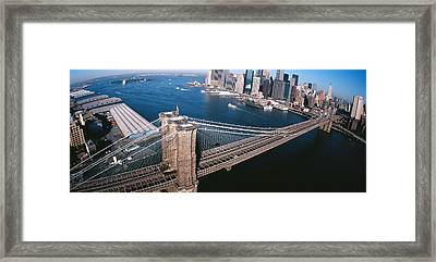Usa, New York, Brooklyn Bridge, Aerial Framed Print by Panoramic Images